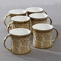 Saaikee Cups Tea Set of 6 Diamond Luxury Golden Coffee Cups Bone China 160 ml