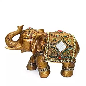 """Feng Shui Brass Color 6"""" Elegant Elephant Trunk Statue Wealth Lucky Figurine Home Decor Gift US Seller (14832) by We pay your sales tax"""