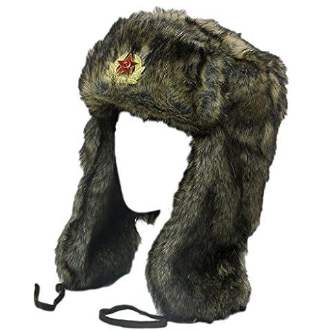 VIZ Bonnet de trappeur en imitation fourrure marron avec Style Russe Soviétique style Badge–4Tailles - marron - 61