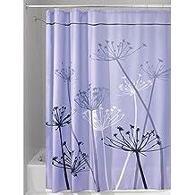 mDesign cortina de baño antimoho - Cortina ducha de 180 cm x 200 cm - Cortina bañera impermeable color lila / gris - Modelo diente de león