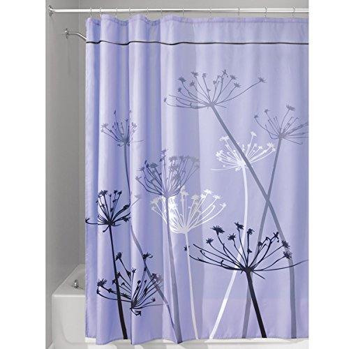 mDesign Duschvorhang mit Löwenzahnmuster - ideales Badzubehör mit perfekten Maßen: 180 cm x 200 cm - langlebige Duschgardine - Farbe: lila/grau - Lila Duschvorhang