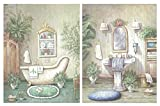 Dcine Set de 2 Cuadros de baño de Tonos Verdes Pastel. Lavabo, bidé. Cuadros sobre Base de Madera de 25x19...