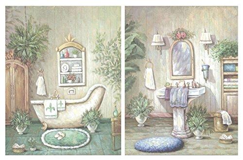 Dcine Set 2 Cuadros baño Tonos Verdes Pastel. Lavabo