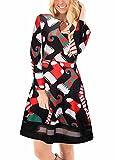 Ruiyige Vestito da sera femminile in abito da damigella d'onore con chiusura a scacchi Xmas Calze Stampa Sleeveless Midi Dress S nero