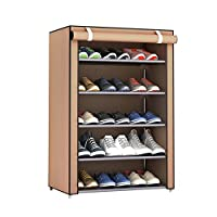 Swiftswan 6 Tiers Shoe Rack Shoe Storage Organizer Cabinet Tower with Non-woven Fabric Dustproof Cover