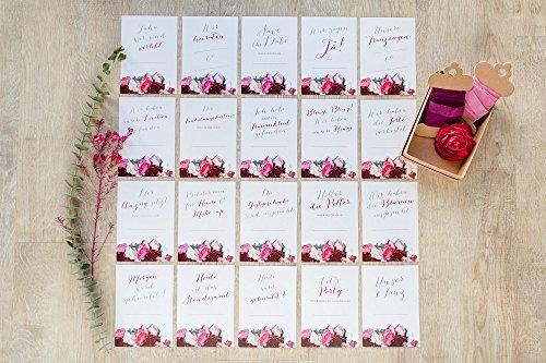 """20 Meilen-Stein-Karten """"BOHO FLOWER"""" zur Hochzeit - Hochzeits-Vorbereitung / Verlobungs-Geschenk Erinnerung Heirat Geschenk-Idee Liebe & Heiraten Heirats-Antrag"""