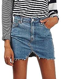 beautyjourney Minifalda Vaquera desgastada para Mujer Falda de Mezclilla  Corta de una línea de Cintura Corta 8a58874a5b16
