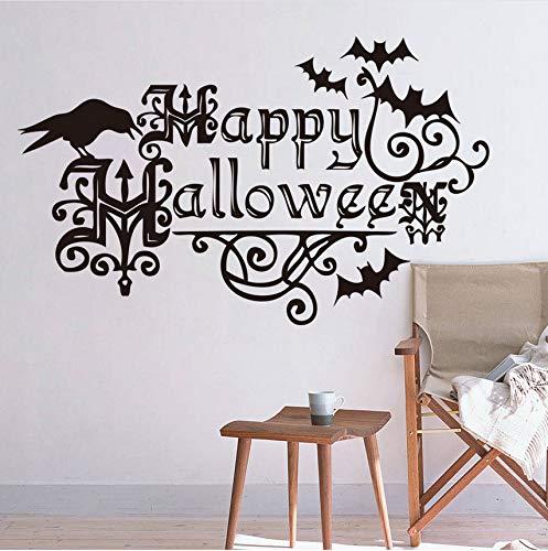 Zlxzlx WandZitate Worte Drucken Happy Halloween Fenster Wand Dekor Vintage Home Dekoration (Worte Für Halloween Happy)