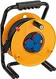 Brennenstuhl Brobusta IP44 Gewerbe-/Baustellen-Kabeltrommel (25m - Spezialkunststoff, Baustelleneinsatz und Einsatz im Außenbereich, Made In Germany) gelb