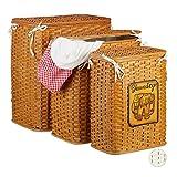 Relaxdays Bambus Wäschetruhe 3er Set, Wäschekorb mit Deckel, herausnehmbarer Stoffbezug, luftdurchlässiger Korb, braun, Honigbraun