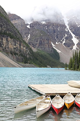 Canoes at Lake Moraine Banff Canada Journal: 150 page lined notebook/diary -