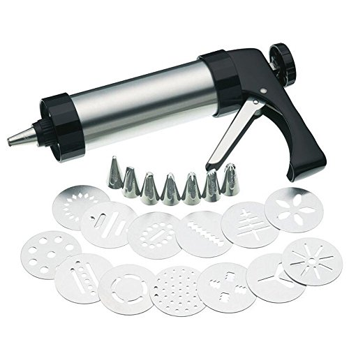 Edelstahl Cookie Press/Zuckerguss Dekorieren Gun Sets für Kekse/Kuchen Dekoration (22Stück) (Cookie Cutter Pin Rolling)