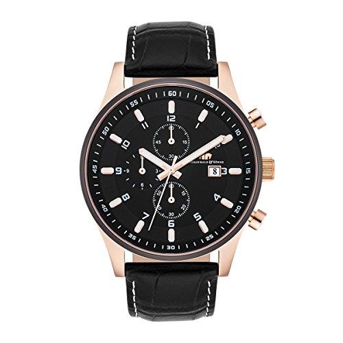Rhodenwald & Söhne Couragian Montre homme Chronographe doré or rose / noir 5 ATM Bracelet en cuir véritable noir 10010279