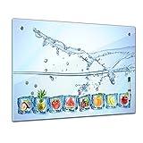 Memoboard - 80 x 60 cm, Essen und Trinken - Eiswürfel mit Wasserspritzer - Glasboard Glastafel Magnettafel Memotafel Pinnwand Schreibtafel - Eis - Wasser - Früchte - Obst - Obstbild - Früchte im Eiswürfel - blau - verschiedene Früchte - Küchenbild - Küche - Esszimmer - Motiv - Design - Art