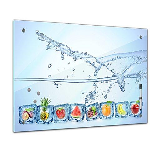 Memoboard - 80 x 60 cm, Essen und Trinken - Eiswürfel mit Wasserspritzer - Memotafel Pinnwand - Eis - Wasser - Früchte - Obst - Obstbild - Früchte im Eiswürfel - blau - verschiedene Früchte
