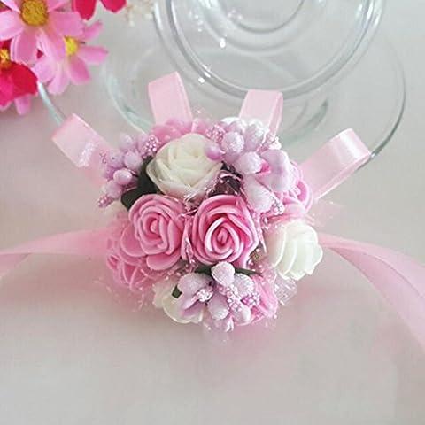 OULII Demoiselle d'honneur mariée poignet fleur Bracelet de perles mousse main fleur mariage dragées mariage (rose blanc)