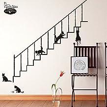 Lovely gatos escaleras pared adhesivo de papel para Home de Vinilo extraíble vinilo de pared para salón o dormitorio PVC Murales de arte imagen impermeable DIY Stick para adultos teems Childres Kids Nursery Baby + 3d rana coche adhesivo