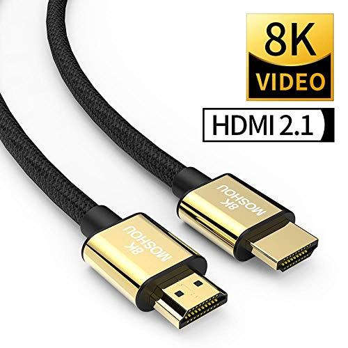 HDMI 2.1 Kabel 8K 60Hz 4K 120Hz 48Gbps Bandbreite ARC MOSHOU Videokabel für Verstärker TV High Definition Multimedia Interface, 2 m (6,56 ft) High-definition-kabel-pack