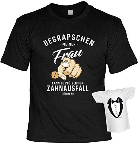 Fun T-Shirt Zahnausfall durch Begrapschen meiner Frau Shirt 4 Heroes geil bedruckt Geschenk Set mit Mini Flaschenshirt Schwarz