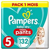 Couches Culottes Pampers Taille 5 (12-17 kg) -n  Baby Dry Nappy Pants, 132 culottes, Pack 1 Mois