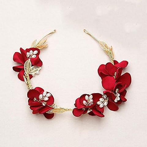 Liu Yu·kreativer Raum, Braut drei Stücke von roten Blumen Kranz Hochzeit Dekorationen ( größe : Ear clip )
