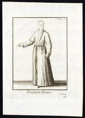 ThePrintsCollector Antique religieux Prints Penitent-Blanc/noir-Habit Misericorde-Helyot - 1792