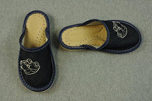 Hausschuhe mit Lammfell gefüttert Schuhe Wolle Winterschuhe Natur Braun Junge Boy J602a (31, dunkel Jeans) dunkel Jeans