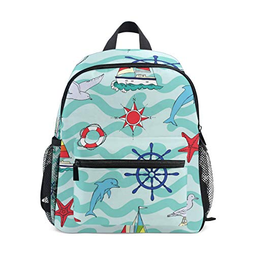 Kleinkinder, Motiv: Anker Delfin, Büchertasche, Schulrucksack für Mädchen und Jungen ()