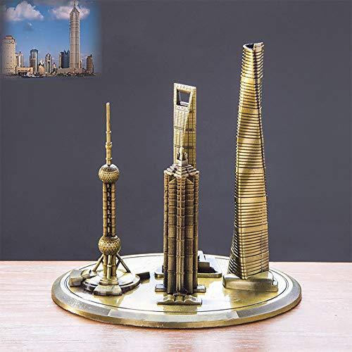 suneagle Hauptdekorationen, Shanghai Suite Shanghai Architekturmodell Oriental Pearl Tower Globales Finanzzentrum, Architekturhaus-Modelldekorationen, Souvenirs,20cm-Greenbronze -