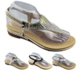 SheLikes New Womens Diamante Sparkly Summer Open Toe Slippers Flat Wedding Sandals