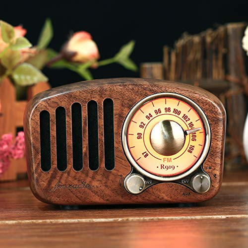 PRUNUS J-919 Klassisches Retro-Holz Design FM SD MP3 Bluetooth Transistor Laderadio mit Lautsprecher, unterstützt AUX-Funktion, 270° großes Kompass Tuning Fenster. (Walnußholz)