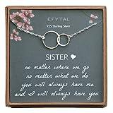 EFYTAL Collar de plata de ley 925 con doble circulo para mujer