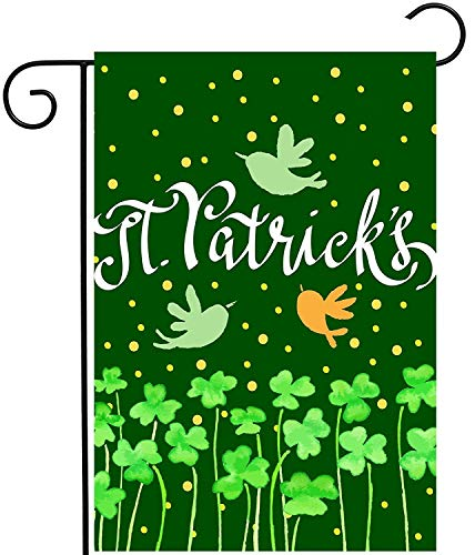 St. Patricks Day Green Irish Floral Shamrock Clover Spring Birds Dots Garden Yard Flag Double Sided Polyester Welcome House Flag Banners for Patio Lawn Outdoor Home Decor(Size: 28inch W X 40inch H) -