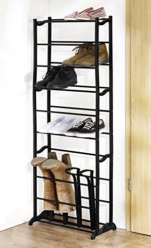 Schuhregal für bis zu 12 Paar Schuhe und 2 Paar Stiefel, schwarz