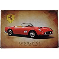 Placas decorativas vintage metalicas Ferrari. Carteles chapas decoracion coches