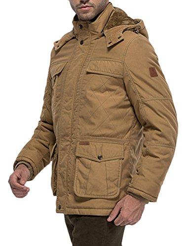 MatchLife Herren Camouflage Hooded Zipper Fleece Mantel Style2-Khaki