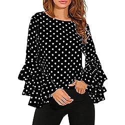 Bestow Camiseta de Mujer con Lunares flareados Camiseta de Mujer con Manga Larga con Botones de Lunares Blusa Casual de Mujer(Negro,XXL)