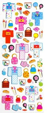 Iwako Japanese Kimono and accessories Gel Stickers. 57 Stickers Per Pack