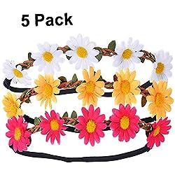 Mydio - Diadema multicolor con diseño de margaritas y flores con cinta elástica ajustable para el pelo de mujeres y niñas, accesorios para bodas, festivales, fiestas