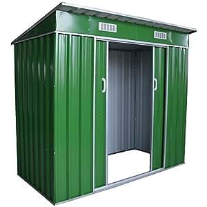 metall gartenhaus mit schiebet r ger teschuppen gartenschrank gartenhaus gr n garten. Black Bedroom Furniture Sets. Home Design Ideas