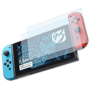 Bruni Schutzfolie kompatibel mit Nintendo Switch Folie, glasklare Displayschutzfolie (2X)