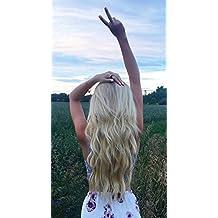"""Ugeat 100g 16"""" Extension de La Trama del Pelo Humano Recto Remy Extensiones de Cabello Natural 40cm Extensiones Pelo Blanqueador de Color Blonde #613"""