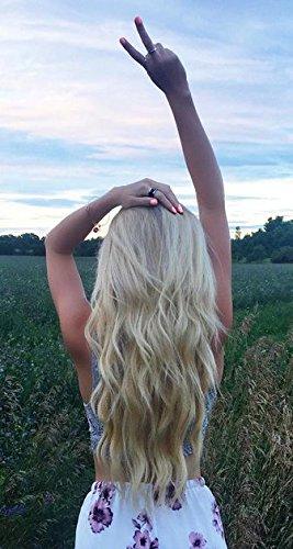 Ugeat 60cm Gebleichtes Blond Remy Echthaar Tressen zum Einnahen 100g Gute Qualitat Glatt Haarverlangerung Echthaar Extensions #613 1 Bundeln