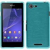 PhoneNatic Case kompatibel mit Sony Xperia E3 - blau Silikon Hülle Brushed + 2 Schutzfolien