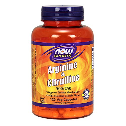 51Ta4l7CcQL. SS500  - Now Foods, Sports, Arginine & Citrulline, 500 mg /250 mg, 120 Veg Capsules