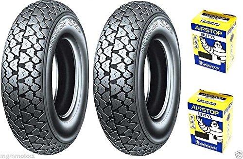 Michelin - Paire de pneus S83 3,50-10 59J + chambres à air, pour Piaggio APE 200