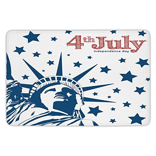 Bathroom Bath Rug Kitchen Floor Mat Carpet,4th of July Decor,Murky Old American Flag Background with Stars Abstract US Artful Image,Blue Red,Flannel Microfiber Non-slip Soft Absorbent,23.6 X 15.7 Inch (Foam Frames Halloween)