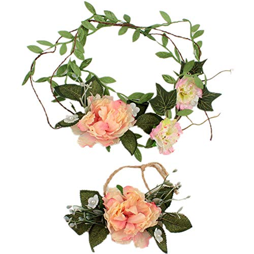 Shuda Blumenkranz + Handblumenanzug Blume Bohemia Style Kopfschmuck Haarbänder Stirnbänder Floral...