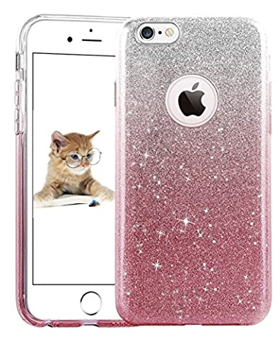 iPhone SE 5 5S Case, uiano® Sparkling Premium [3 in 1 Layers Protection] Hybrid Glitter Bling Bling TPU phone Case Cover For iPhone SE Case, iPhone 5 5S Case (Silver Pink) [Lifetime Warranty]