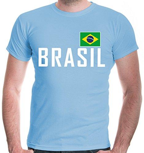 buXsbaum Herren T-Shirt Brasilien | Brasil Brazil Amerika Ländershirt Fanshirt Flagge Trikot Reise | XXL, Blau